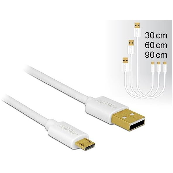Delock Data and Fast Charging Cable USB 2.0 A-male>Micro-B-male,3 pieces set whi