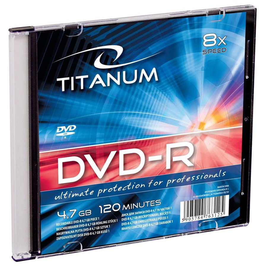 DVD-R TITANUM [ slim jewel case 1 | 4.7GB | 8x ] - carton 200 pcs