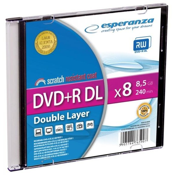 DVD+R Double Layer ESPERANZA [ Slim 1 | 8,5 GB | 8x ] - 200 pcs