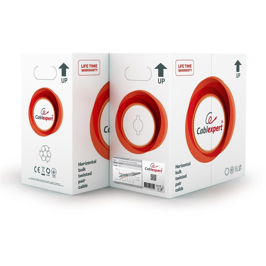 Gembird FTP solid cable, cat. 5e, 100m, gray