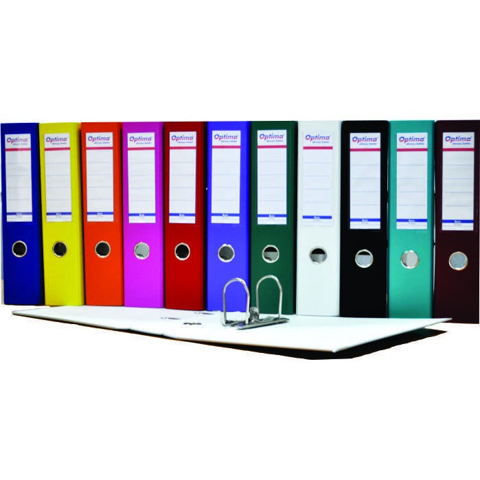 Biblioraft A4, plastifiat PP/paper, margine metalica, 75 mm, Optima Basic - turqoise