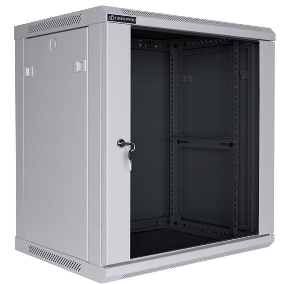 Linkbasic rack wall-mounting cabinet 19'' 15U 600x600mm grey (glass front door)