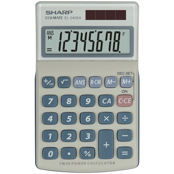 Calculator de birou Calculator de buzunar, 8 digits, 116 x 71 x 17 mm, dual power, capac plastic, SHARP EL-240SAB - gri