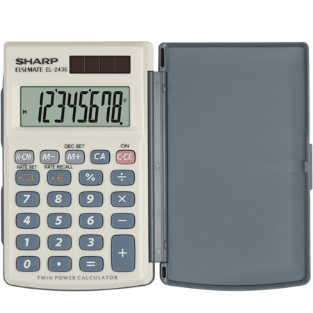 Calculator de birou Calculator de buzunar, 8 digits, 105 x 64 x 11 mm, dual power, conversie, SHARP EL-243EB - gri