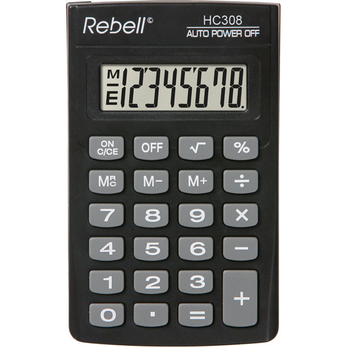 Calculator de birou Calculator de buzunar, 8 digits, 114 x 69 x 18 mm, Rebell HC308 - negru