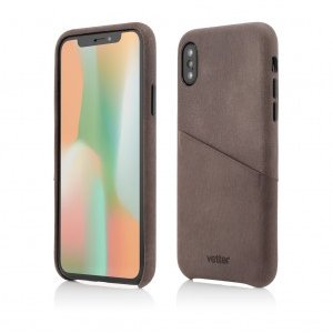 iPhone XS X | Clip-On Genuine Leather with Card Holder | Coffee