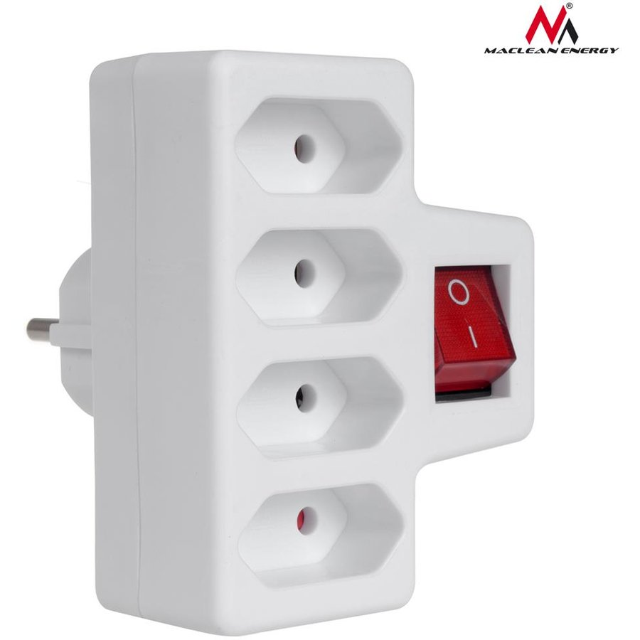 Prelungitor Maclean MCE217 Four-phase power socket with switch 4x2,5A universal plug