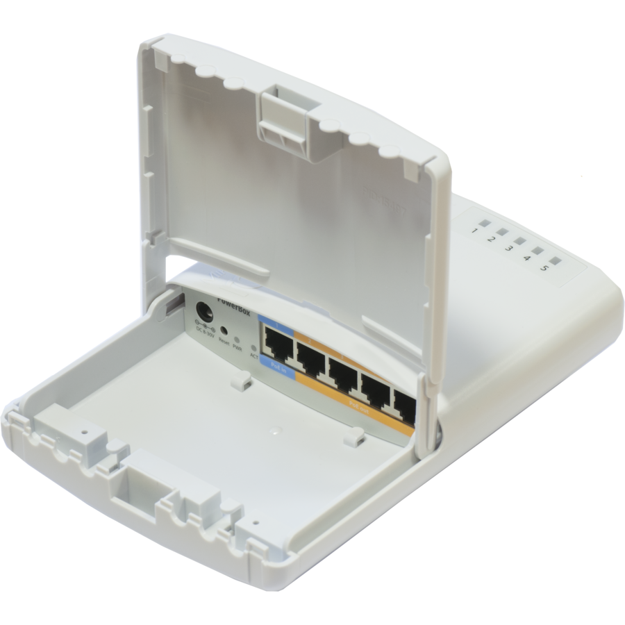 Router PowerBox Outdoor 5x Ethernet port router with PoE output 6V-30V/1-2A