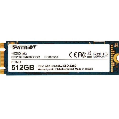 SSD Patriot SSD Scorch M.2 NVMe PCIe 512GB Read/Write (1700/950Mb/s)