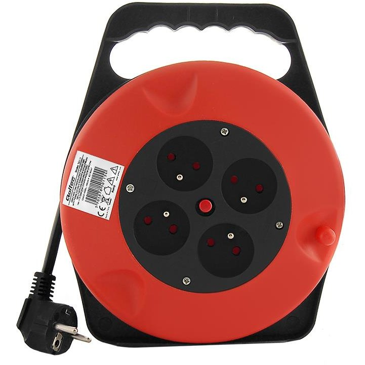 Qoltec Cable reel | 4 power socket | 10,0m