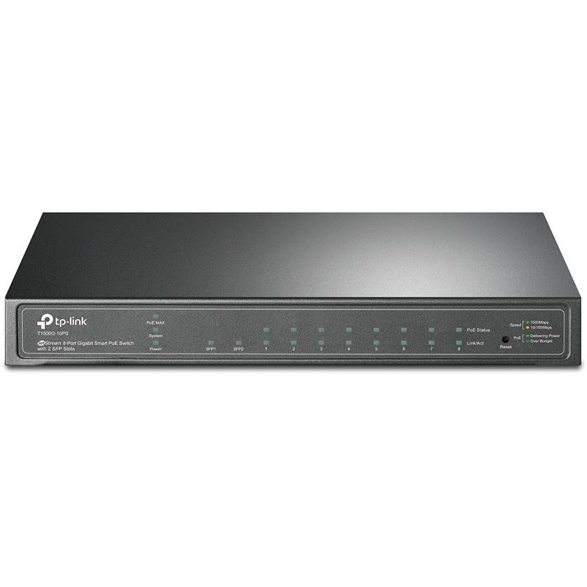 Switch T1500G-10PS 8-Port Gigabit Desktop PoE Switch with 2 Combo SFP Slots