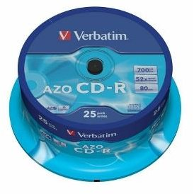 Verbatim CD-R[ cake box 25 | 700MB | 52x | Crystal | DataLife+ AZO ]