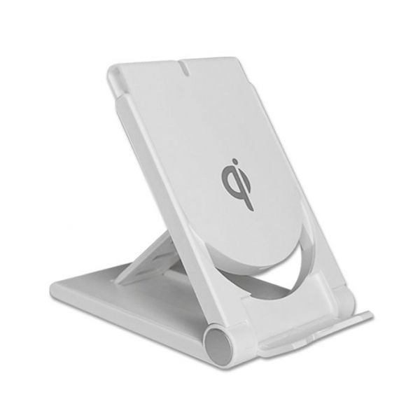 Incarcator universal QI wireless charger pliabil cu functie stand suport, alb