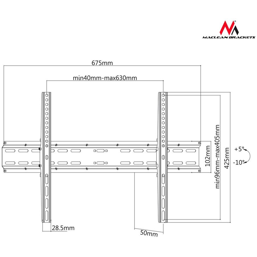 Maclean MC-749 Wall bracket TV 37-70'' max vesa 600x400 35kg