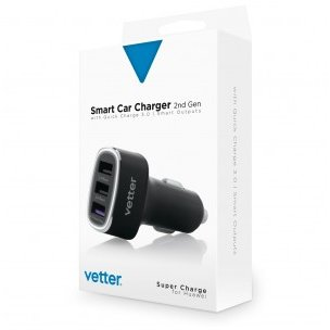 Smart Car Charger 2nd Gen | QC 3.0 and Super Charge | Smart Outputs | 3 x USB | Black