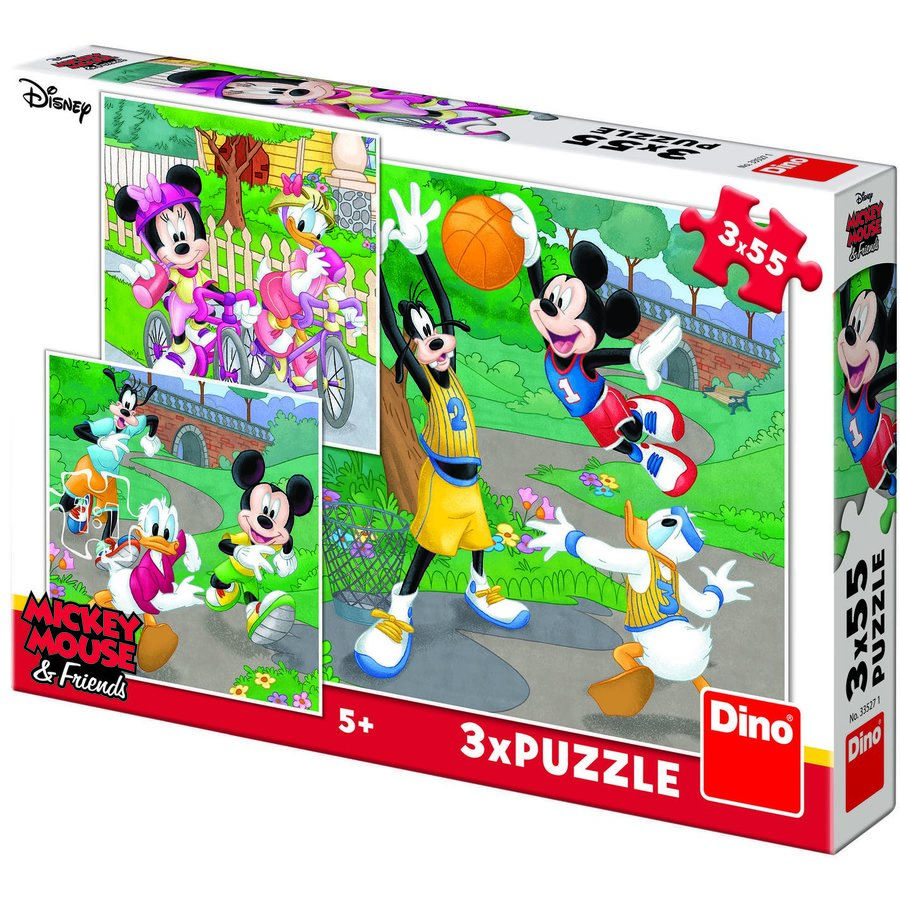 Puzzle 3 in 1 - Mickey si Minnie sportivii (55 piese)