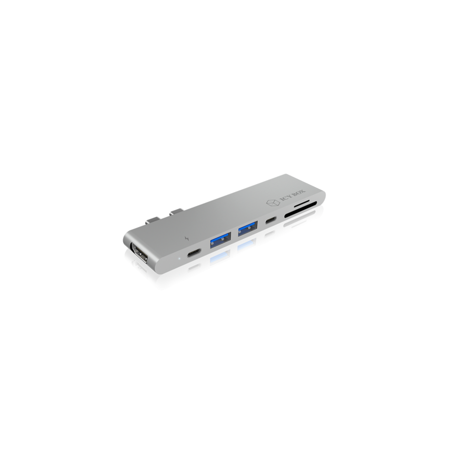 HDD Rack IcyBox Docking Station for notebook 2xUSB Type-C, Thunderbolt, SD reader, Silver