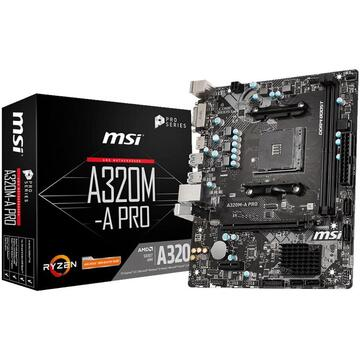 Placa de baza MSI A320M-A PRO AM4; 2x DDR4 DIMM; Mini ATX