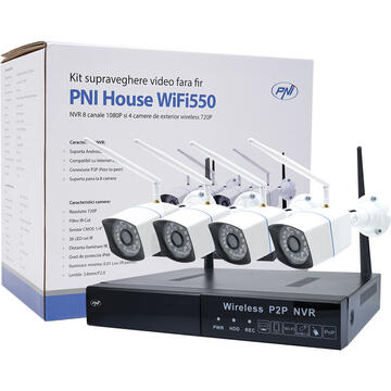 Pachet Kit supraveghere video PNI House WiFi550 NVR si 4 camere wireless, 1.0MP cu HDD 1tb inclus