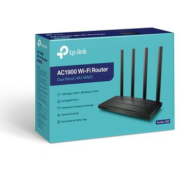 Router wireless TP-LINK Archer C80, AC1900, Full Gigabit, Dual Band, MU-MIMO, Wi-Fi Wave2