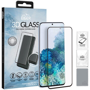Eiger Folie Sticla 3D Edge to Edge Samsung Galaxy S20 Clear Black (0.33mm, 9H, perfect fit, curved, oleophobic)