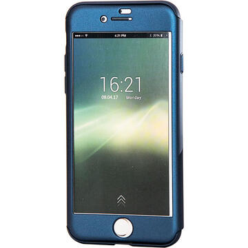 Husa Just Must Carcasa Defense 360 iPhone SE 2020 / 8 / 7 Navy (3 piese: protectie spate, protectie fata, folie sticla)