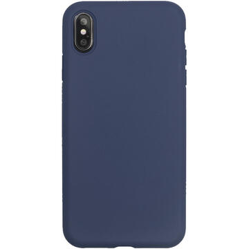 Husa Just Must Husa Silicon Pantone iPhone XS Max Navy (captusit cu microfibra, colturi intarite)