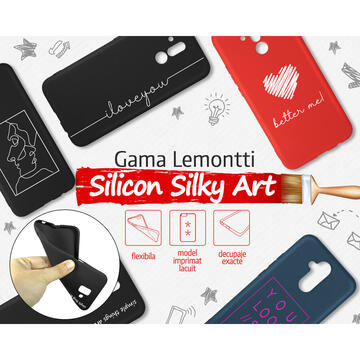 Husa Lemontti Husa Silicon Black Silky Art iPhone SE 2020 / 8 / 7 iLove You White