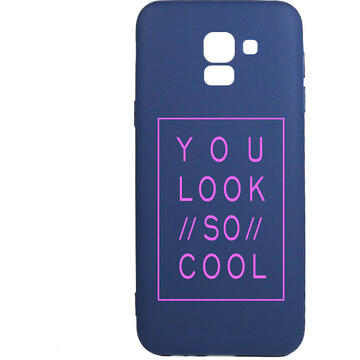 Husa Lemontti Husa Silicon Blue Silky Art Samsung Galaxy J6 (2018) You Look So Cool Magenta