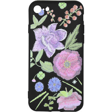Husa Just Must Husa Silicon Printed Embroidery iPhone SE 2020 / 8 / 7 Flowers