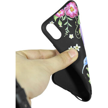 Husa Just Must Husa Silicon Printed Embroidery iPhone XS / X Colibri