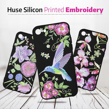 Husa Just Must Husa Silicon Printed Embroidery Samsung Galaxy A7 (2018) Pink Flowers