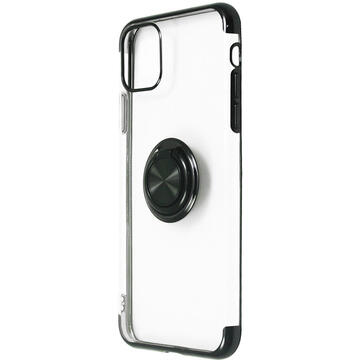 Husa Just Must Husa Silicon Mirror Ring iPhone 11 Pro Max Black (cu suport tip inel si margini electroplacate)