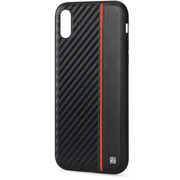 Husa Meleovo Husa Carbon iPhone XS / X Black & Red (placuta metalica integrata)