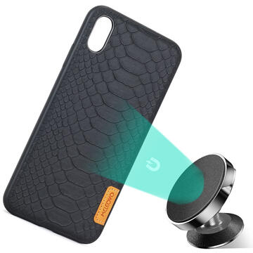 Husa Meleovo Husa Python iPhone XS Max Black (placuta metalica integrata)