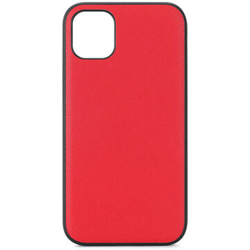 Husa Meleovo Husa Saffiano Magnetic iPhone 11 Pro Red (placuta metalica integrata)
