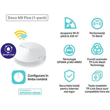Router wireless TP-LINK DECO M9 Plus (1-Pack )AC2200 Tri-Band Bluetooth Alb