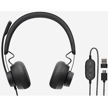 Casti Logitech Zone Wired Headset Teams USB Typ-C, include adaptor USB 2.0