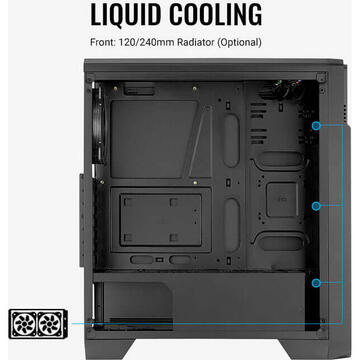Carcasa Aerocool Ore Tempered Glass, tower case(black, tempered glass)