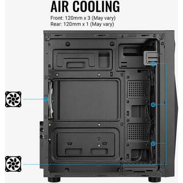 Carcasa Aerocool Glider TG, tower case (black, tempered glass)