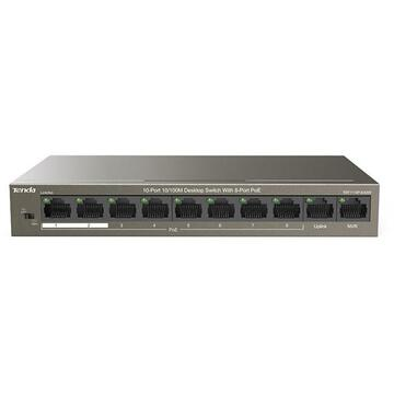 Switch Tenda TEF1110P-8-63W network switch Unmanaged Fast Ethernet (10/100) Black Power over Ethernet (PoE)