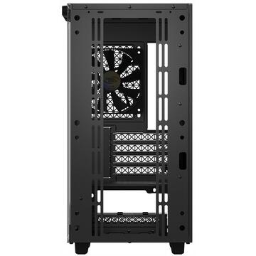 """Carcasa CARCASA DeepCool Middle-Tower ATX, 1* 120mm fan (inclus), tempered glass, panouri laterale magnetice, tavan amovibil, front audio & 2x USB 3.0, black """"MACUBE 110"""""""
