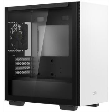 """Carcasa CARCASA DeepCool Middle-Tower ATX, 1* 120mm fan (inclus), tempered glass, panouri laterale magnetice, tavan amovibil, front audio & 2x USB 3.0, white """"MACUBE 110 WH"""""""