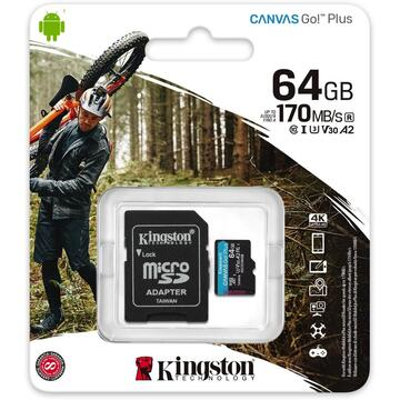 Card memorie Kingston Canvas Go! Plus memory card 64 GB MicroSD Class 10 UHS-I