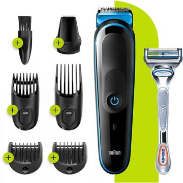 Aparat de tuns corporal Braun 7-in-1 Trimmer MGK3242 Men Beard Trimmer, Face Trimmer & Hair Clipper, Black/Blue