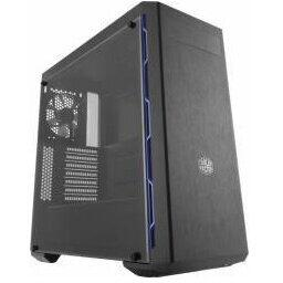 "Carcasa CARCASA COOLER MASTER Middle-Tower ATX,  MasterBox MB600L fara ODD, window version,   1* 120mm fan (incluse), I/O panel, black&blue ""MCB-B600L-KANN-S01"""