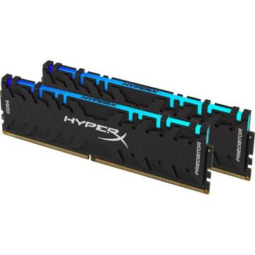 Memorie Kingston HyperX DDR4 - 64 GB -3200 - CL - 16 - Dual Kit, Predator RGB (black, HX432C16PB3AK2 / 64)
