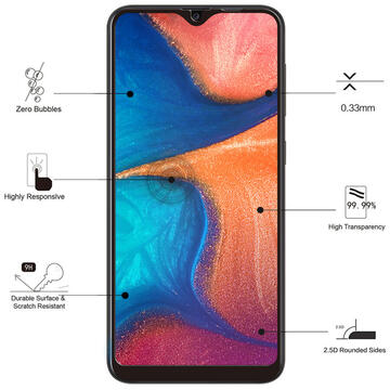 Eiger Folie Sticla 3D Edge to Edge Samsung Galaxy A20e Clear Black (0.33mm, 9H, perfect fit, curved, oleophobic)