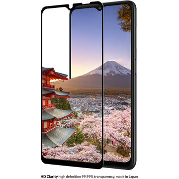 Eiger Folie Sticla 3D Edge to Edge Samsung Galaxy A12 / A32 5G Clear Black (0.33mm, 9H, perfect fit, curved, oleophobic)