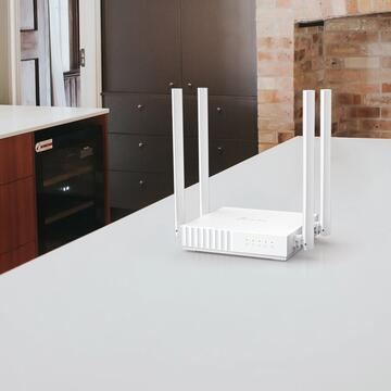 Router wireless TP-LINK Wireless  750Mbps, 4 porturi 10/100Mbps, 4 antene externe, Dual Band AC750